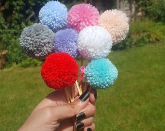 Pom Pom cupcake cake toppers for baby shower wedding birthday hen party