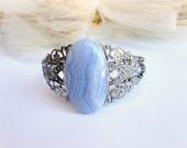 Bracciale agata azzurra braccialetto filigrana cabochon pietra dura agata polsino pietra azzurra gioielli piete dure
