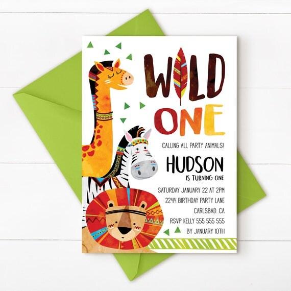 Jungle Invitation Wild First Birthday Jungle Birthday