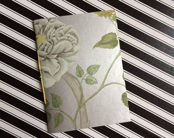 Hand Bound Blank A5 Notebook - Metallic Silver Magnolia Design with Canary Yellow Binding - 3 Hole Pamphlet Stitch - Recycled Wallpaper