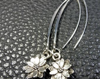 Long & Pretty Silver Plated Floral Pendant Earrings