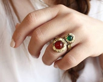 Multistone ring dual ring two stone ring carnelian ring green agate ring boho ring witch ring crystal ring ethnic bronze ring gift for her