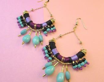 Thread Earrings,Tribal Earrings,Bohemian earrings,African earrings,Chandelier earrings,Rope earrings,Beaded earrings,Purple earrings