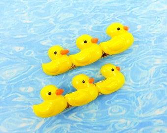 Hand-painted Rubber Duckie Hair Clips - Kawaii Rubber Duckie - Rubber Duckie Accessory - Decora Kei Rubber Duckie Barrette