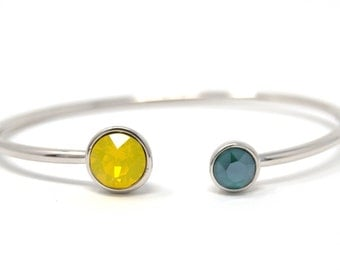 Silver plated Bangle with two swarovski stones