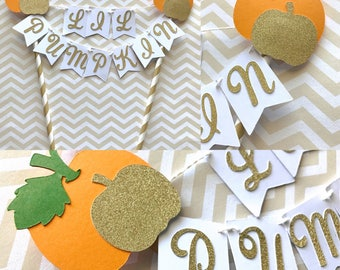 Pumpkin Birthday Gold Glitter Cake Bunting Topper - Smash Cake - Little Pumpkin 1st Birthday - Fall Birthday Party - Lil Pumpkin Baby Shower