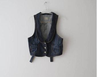 Jeans Denim Vest Women Denim Vest Romantic Vest Dark Blue Jeans Waistcoat Fitted Button Up Small Size Vest