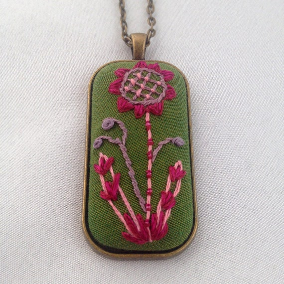 Stitched Flower Pendant / Embroidered Floral Necklace / Purple Flower Necklace / Gift For Her
