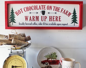Hot Chocolate Sign - Hot Chocolate Bar - Cocoa -Tea -Coffee - Christmas Signs -Wood Signs- Rustic Signs - Farmhouse
