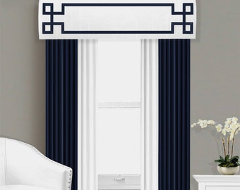 Greek Key Valance Cornice Board Pelmet Box Window Treatment in White with Navy Blue Ribbon Banding Trim - Custom Valance Curtain Topper