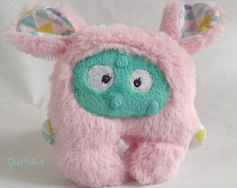 "Plush, soft, unique and original ""mini-Bestiole"" pink and turquoise - Chatfildroit"