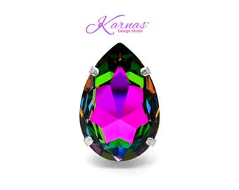 COLOR MY WORLD 30x20mm Pear Adjustable Ring Swarovski Crystal *Choose Your Finish *Karnas Design Studio™ *Free Shipping*