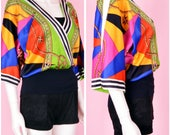 90s Colorful Satin Top / Vintage 1990s Baroque Print Blouse / Small