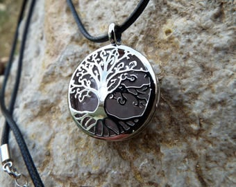 Rose Quartz Locket Pendant Tree of Life Silver Handmade Necklace Gemstone Jewelry