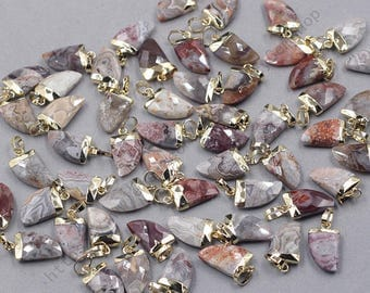 16mm Faceted Crazy Lace Agate Small Horn Pendants -- With Electroplated Gold Edge Gemstone Charms Wholesale Supplies YHA-328