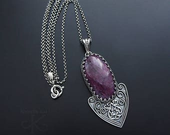 Deep in the heart - a silver necklace with a ruby, fine jewelry, for her