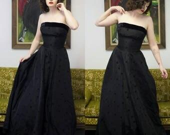 1940s Black Formal Dress | 40s Dress | 1940s Dress | 40s Black Dress | Polka-dot Dress | Strapless Formal Dress | Black Strapless Dress | 25