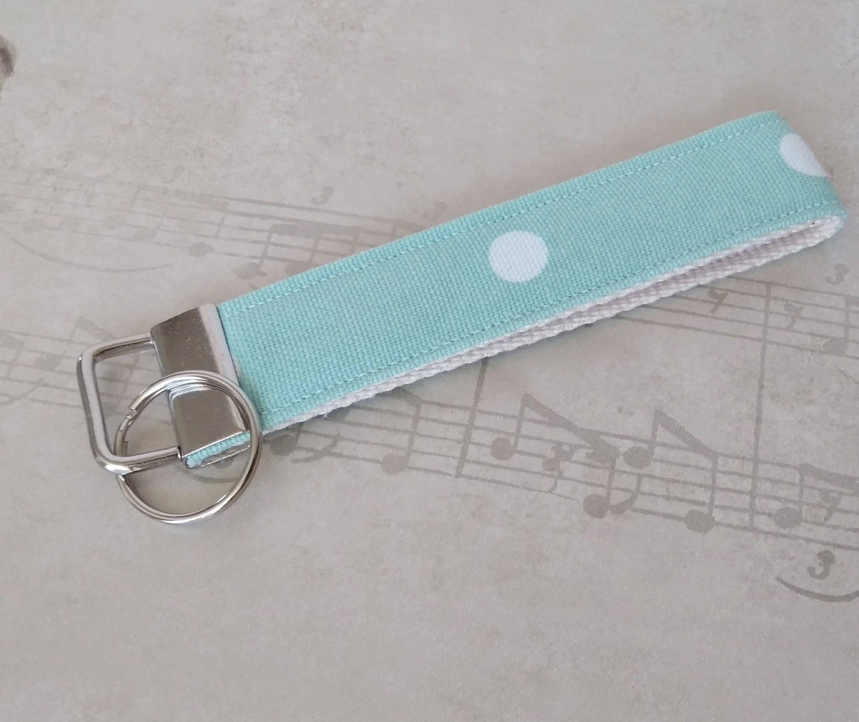 office key holder. Turquoise Wristlet Keyring - Sea Foam Wrist Strap Key Holder Marine Long Keychain Fabric Office