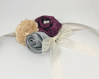 Champagne Ivory Silver and Wine Red Wedding Flower Wreath Dog Collar with Lace Flower Pearls Wedding Sash