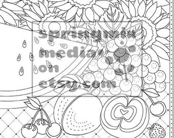Cat Coloring Page Minkas Journey Animal And Nature Pages To Color Picnic Fruit
