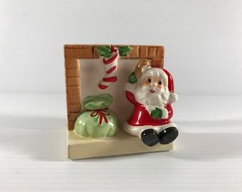VINTAGE NAPKIN HOLDER, Christmas napkin holder, Santa Claus napkin holder, vintage ceramic napkin holder, Christmas decor, vintage decor