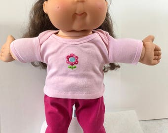 "Cabbage Patch Doll 16 inch Doll Clothes, Pretty Pink ""FLOWER"" on Pink Top, Pink Pants, 16 inch Cabbage Patch Clothes"