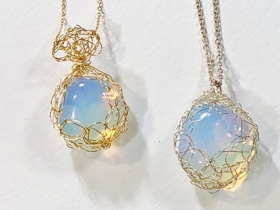 Handmade necklace with 14K gold filled or sterling silver wire crochet bezeled pendant with opalite