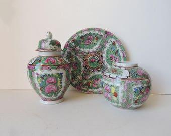 Chinese Porcelain Rose Medallion Lidded Jar Plate Vase Set