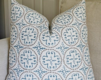 Embroidered Circles Pillow Cover // Embroidered Linen Blue White Decorative Throw Pillow 18 20 22 24 26 Euro