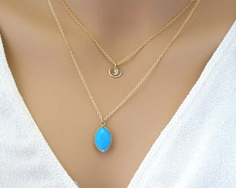 December Birthstone Turquoise Necklace Layering Necklace 2 layers Initial Necklace Simple Dainty  Gemstone Necklace Gift for her wife 14K