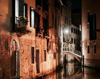 Venice Art Print, Venice Italy by Night, Venice Canal, Night Photography, Italy Fine Art Print, 8x10, 8x12, 11x14, Wall Art, Home decor