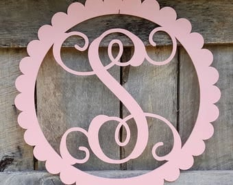 Painted Initial in Scallop Border - Personalized Wall Hanging - Painted Wooden Letters - Nursery Wall Hanging - Personalized Gift