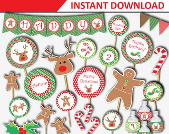 Christmas Birthday Party - Christmas Printable Kit - Christmas Birthday Party Decorations - Christmas Digital Download  (Instant Download)