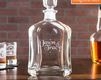 Whiskey Decanter, Wedding Decanter, Gift For Boyfriend, Personalized Decanter, Monogram Decanter, Etched Decanter, Gift For Him