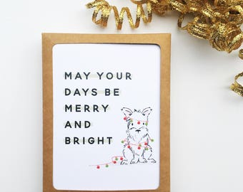 Merry and Bright Boxed Card Set // Dog Christmas Card Set // Boxed Christmas Cards // Boxed Holiday Cards // Christmas Card // The Busy Bee