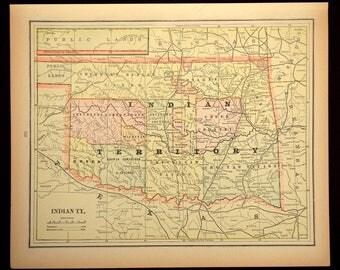 Vintage Oklahoma Map Etsy - Map of oklahoma