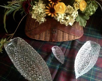 EAPG daisy and button set of glass boats by Hobbs and Brockunier.  Perfect for your holiday party tables.