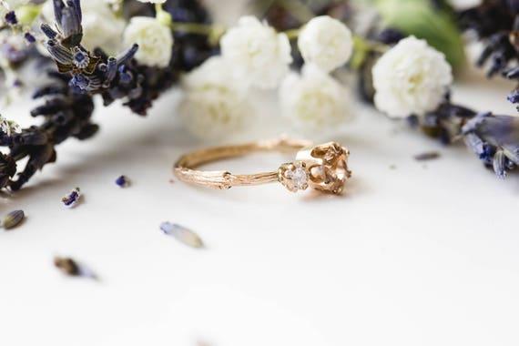 Morganite and rose gold twig engagement ring, twig nature moissanite morganite ring, three stone ring, 14k gold engagement ring