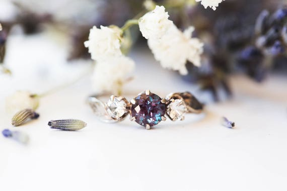 14k gold chatham alexandrite leaf engagement ring, alexandrite and sapphire three stone twig engagement ring, 14k gold twig engagement ring