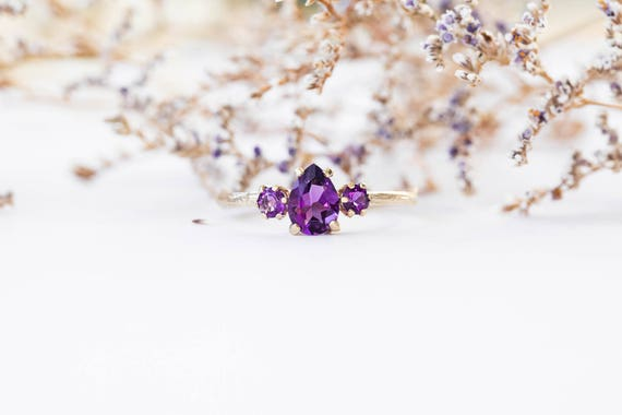 Amethyst pear 14k gold twig engagement ring, amethyst twig engagement ring, three stone amethyst engagement ring, purple engagement ring