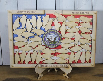 Personalized Guest Book/Flag/Air Force/Navy/Patriotic/Coast Guard/Military/Retirement/Guest Book/Wood Shape/Alternative/submarines