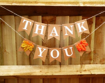 Thank you bunting banner, autumn, fall wedding decoration