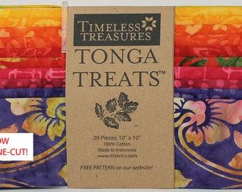 "Pinwheel Batik Fabric 10"" Squares; 20 Pieces; Tonga Treats Shortcake; Timeless Treasures; Precut Fabric; Tonga Pinwheel; Green, Blue, Red"