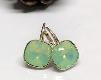 Swarovski Crystal Dangle Earrings, Pacific Opal Swarovski Earrings, Pacific Opal Swarovski Crystal Jewelry, Green Crystal Leverback Earrings