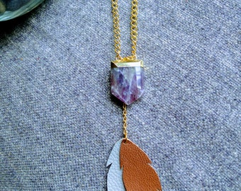 Amethyst Pendant Necklace - Natural Amethyst and Repurposed Leather Necklace - Recycled Leather Feather Pendant Necklace for Women