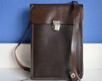 Army Messenger Bag made in 70s, Communist Vintage Shoulder Bag For Him, Leatherette and Leather Messenger Bag for Her, Soviet Military Tote