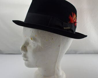 Vintage Stetson Hat - Black Genuine Fur Felt Fedora - Union Made - Men's Size 7