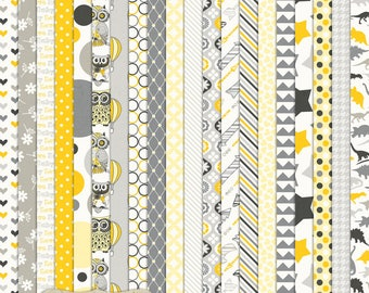 """Digital Printable Scrapbook Craft Paper - Sunshine Baby - Grey Yellow Baby Boy Girl Hearts Owls Dinosaurs - 12 x 12"""" - PU/CU Commercial Use"""