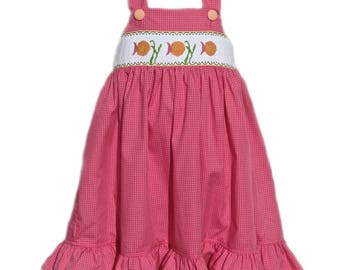 Hand Smocked Pink Gingham Fish Dress 18m
