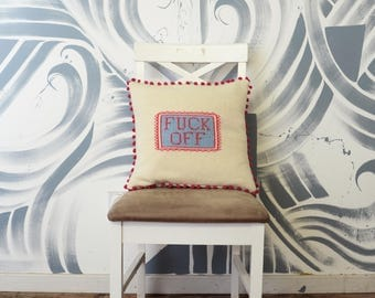 Rude Profanity Knitted Scatter Cushion - FUCK OFF. Pink, Blue and Cream Bright, bold, pillow / cushion / interior